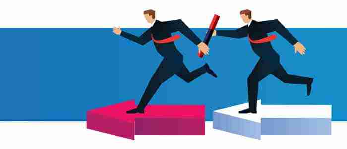 One person is running behind other person in the race of being successful in business